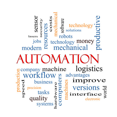 Automation Word Cloud Concept with great terms such as robots, machine, logistics and more. photo