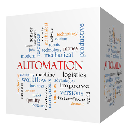 Automation 3D cube Word Cloud Concept with great terms such as robots, machine, logistics and more.
