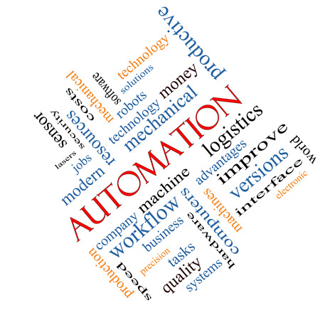 Automation Word Cloud Concept angled with great terms such as robots, machine, logistics and more. photo