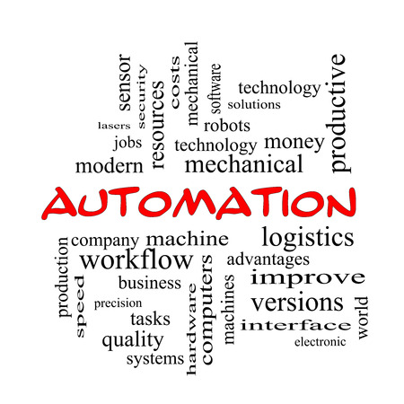 Automation Word Cloud Concept in red caps with great terms such as robots, machine, logistics and more. Reklamní fotografie