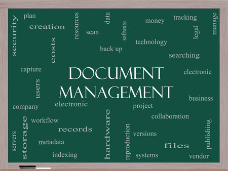 metadata: Document Management Word Cloud Concept on a Blackboard with great terms such as data, back up, files and more.