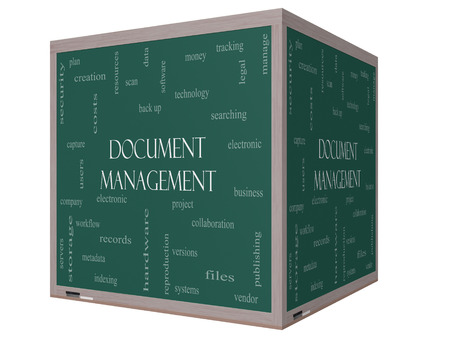 Document Management Word Cloud Concept on a 3D Blackboard with great terms such as data, back up, files and more. Stock Photo - 26469792