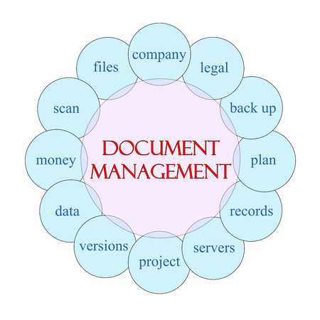 gestion documental: Concepto de gestión de documentos diagrama circular en rosa y azul con grandes términos como empresa, legal, plan y mucho más.