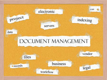 document management: Document Management Corkboard Word Concept met grote termen als indexeren, scannen, data en nog veel meer.