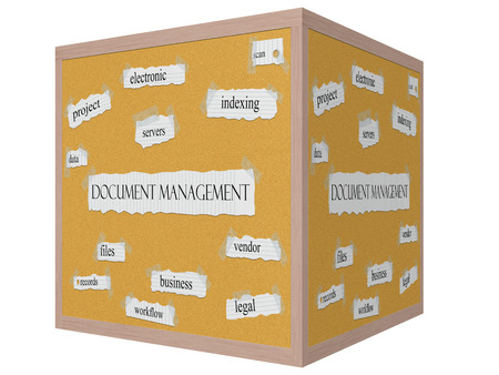 indexing: Document Management 3D cube Corkboard Word Concept with great terms such as indexing, scan, data and more.