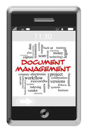 metadata: Document Management Word Cloud Concept of Touchscreen Phone with great terms such as scan, data, indexing and more. Stock Photo