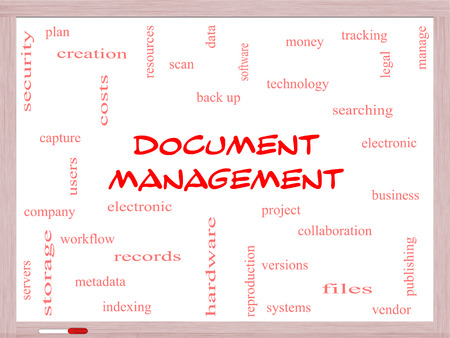 metadata: Document Management Word Cloud Concept on a Whiteboard with great terms such as data, back up, files and more.