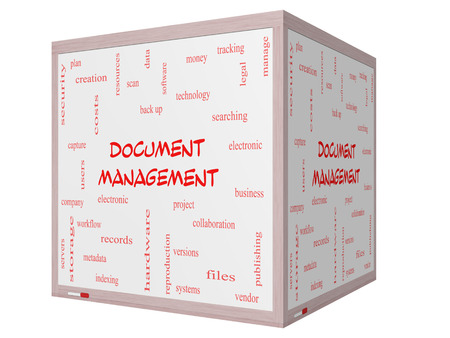 metadata: Document Management Word Cloud Concept on a 3D cube Whiteboard with great terms such as data, back up, files and more. Stock Photo
