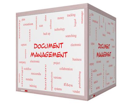 gestion documental: Gestión Documental Palabra Nube Concepto en una pizarra cubo 3D con los términos de los datos, la copia de seguridad, archivos y más.