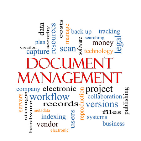 Document Management Word Cloud Concept with great terms such as data, back up, files and more. Stock Photo - 26469807