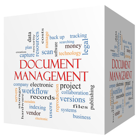 metadata: Document Management 3D cube Word Cloud Concept with great terms such as data, back up, files and more. Stock Photo