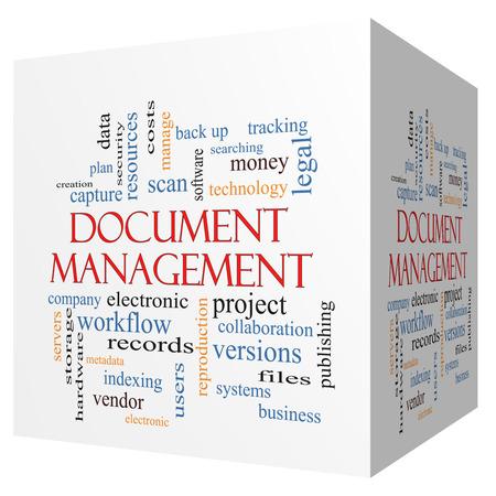 gestion documental: Gestión de documentos cubo 3D Palabra Nube Concepto con los términos de los datos, la copia de seguridad, archivos y más. Foto de archivo