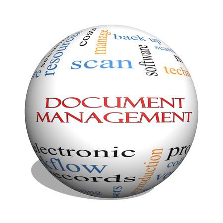 document management: Document Management 3D bol Word Cloud Concept met grote termen als data, back-up, bestanden en nog veel meer.
