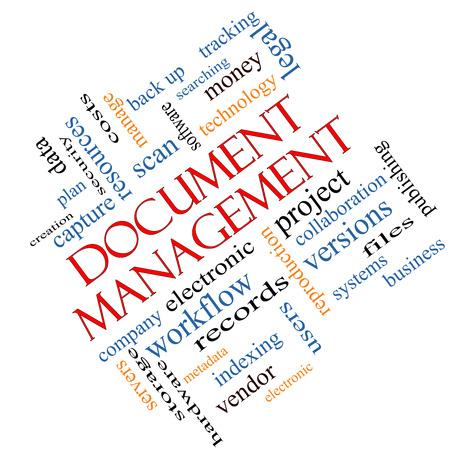document management: Document Management Word Cloud Concept hoek met grote termen als data, back-up, bestanden en nog veel meer.