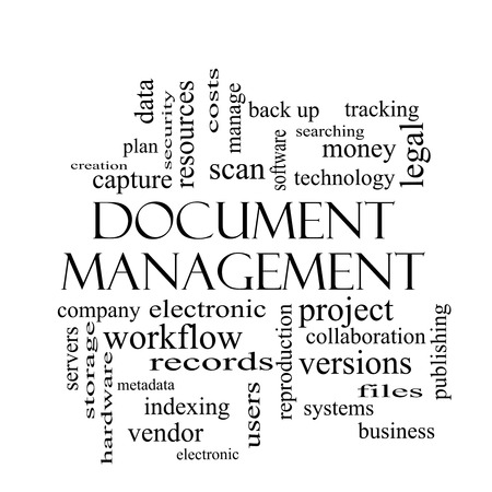 metadata: Document Management Word Cloud Concept in black and white with great terms such as data, back up, files and more.