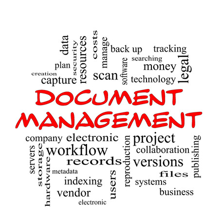 Document Management Word Cloud Concept in red caps with great terms such as data, back up, files and more. 스톡 콘텐츠