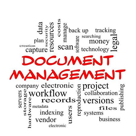 document management: Document Management Word Cloud Concept in het rood kappen met grote termen als data, back-up, bestanden en nog veel meer. Stockfoto