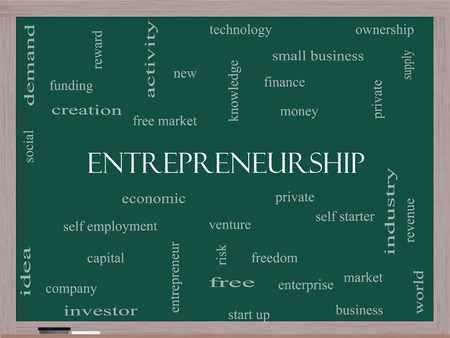 Entrepreneurship Word Cloud Concept on a Blackboard with great terms such as economic, private, venture and more. photo