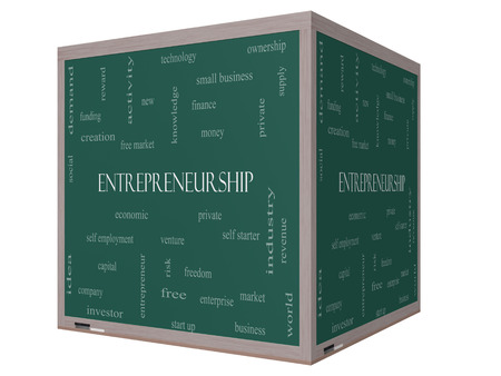 Entrepreneurship Word Cloud Concept on a 3D Blackboard with great terms such as economic, private, venture and more. photo