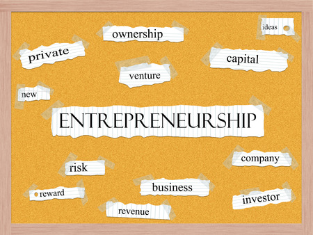 Entrepreneurship Corkboard Word Concept with great terms such as ideas, new, venture and more. photo