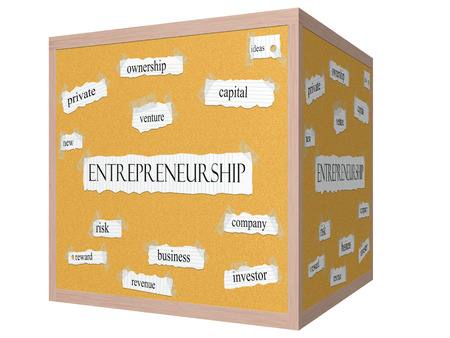 Entrepreneurship 3D cube Corkboard Word Concept with great terms such as ideas, new, venture and more.