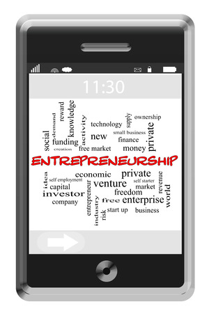 Entrepreneurship Word Cloud Concept of Touchscreen Phone with great terms such as private, ownership, ideas and more. photo