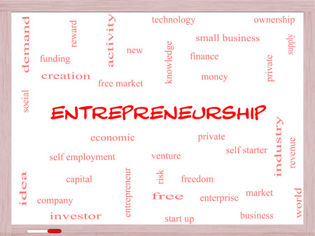 Entrepreneurship Word Cloud Concept on a Whiteboard with great terms such as economic, private, venture and more. photo