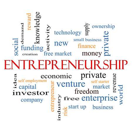 Entrepreneurship Word Cloud Concept with great terms such as economic, private, venture and more. photo