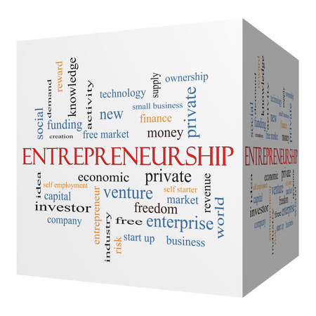 private cloud: Entrepreneurship 3D cube Word Cloud Concept with great terms such as economic, private, venture and more.