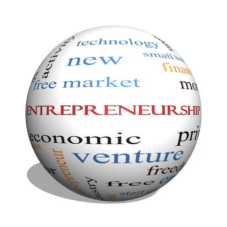 Entrepreneurship 3D sphere Word Cloud Concept with great terms such as economic, private, venture and more. photo