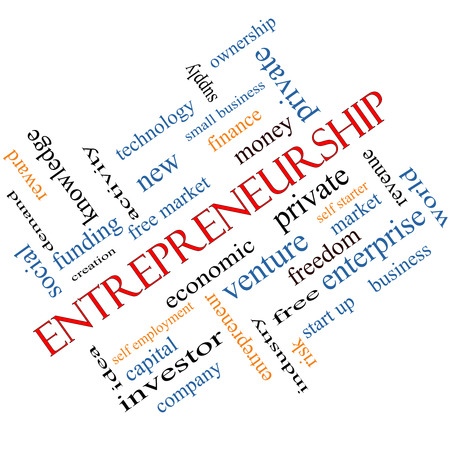 Entrepreneurship Word Cloud Concept angled with great terms such as economic, private, venture and more. Stock Photo