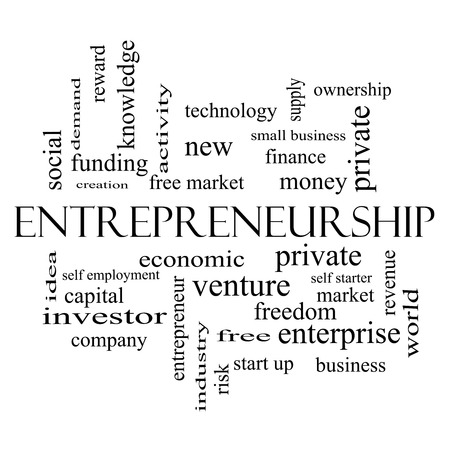 Entrepreneurship Word Cloud Concept in black and white with great terms such as economic, private, venture and more. photo