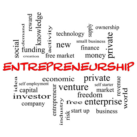 Entrepreneurship Word Cloud Concept in red caps with great terms such as economic, private, venture and more. photo