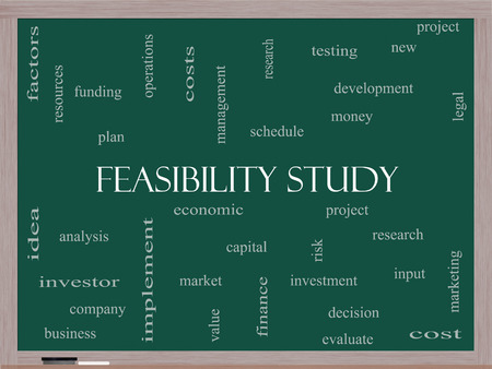 feasibility: Feasibility Study Word Cloud Concept on a Blackboard with great terms such as testing, new, project and more.