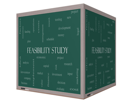 feasibility: Feasibility Study Word Cloud Concept on a 3D cube Blackboard with great terms such as testing, new, project and more.