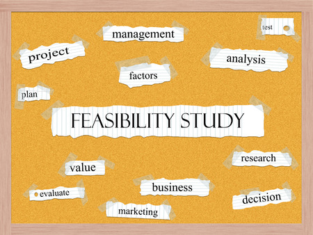 Feasibility Study Corkboard Word Concept with great terms such as plan, factors, analysis and more.