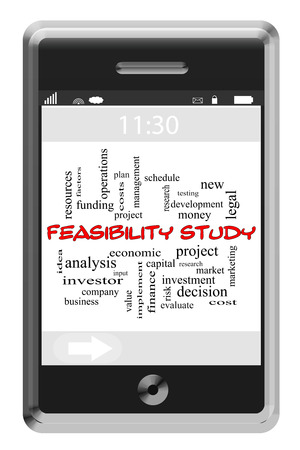 feasibility: Feasibility Study Word Cloud Concept of Touchscreen Phone with great terms such as new, project, costs and more.