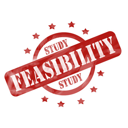feasibility: A red ink weathered roughed up circle and stars stamp design with the words FEASIBILITY STUDY on it making a great concept.