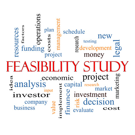 Feasibility Study Word Cloud Concept with great terms such as testing, new, project and more. photo