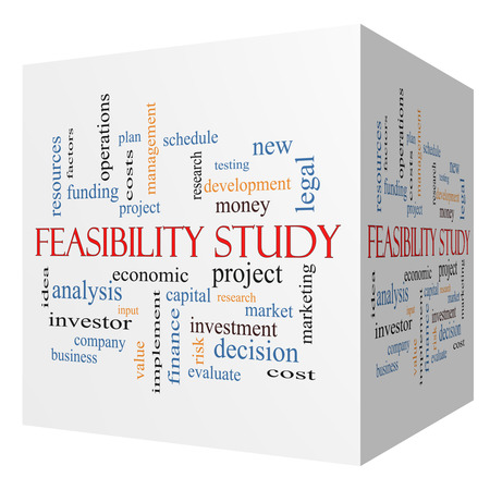 Feasibility Study 3D cube Word Cloud Concept with great terms such as testing, new, project and more.