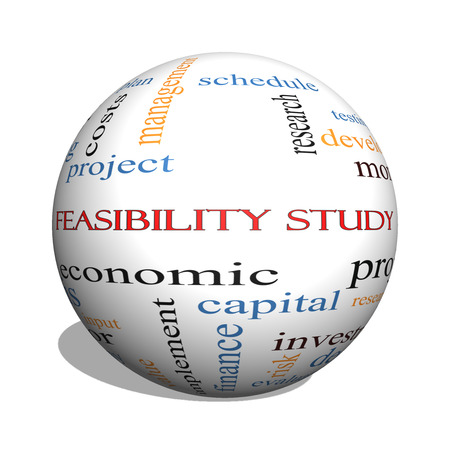 feasibility: Feasibility Study 3D sphere Word Cloud Concept with great terms such as testing, new, project and more.