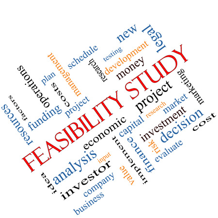 feasibility: Feasibility Study Word Cloud Concept angled with great terms such as testing, new, project and more.