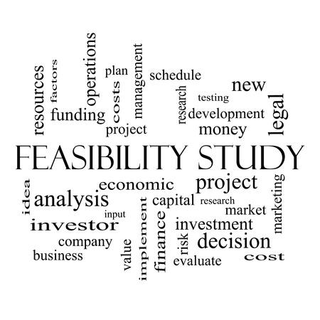 feasibility: Feasibility Study Word Cloud Concept in black and white with great terms such as testing, new, project and more.