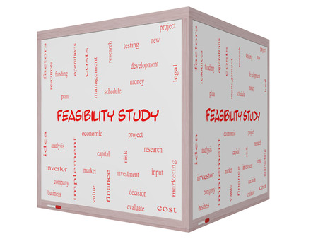 feasibility: Feasibility Study Word Cloud Concept on a 3D cube Whiteboard with great terms such as testing, new, project and more. Stock Photo