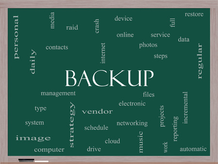 incremental: Backup Word Cloud Concept on a Blackboard with great terms such as files, cloud, data and more.
