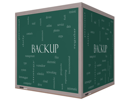 Backup Word Cloud Concept on a 3D cube Blackboard with great terms such as files, cloud, data and more.