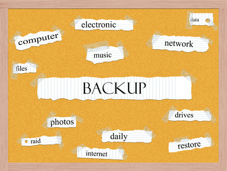 back up: Backup Corkboard Word Concept with great terms such as data, files, network and more.