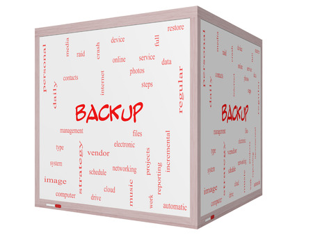 incremental: Backup Word Cloud Concept on a 3D cube Whiteboard with great terms such as files, cloud, data and more. Stock Photo