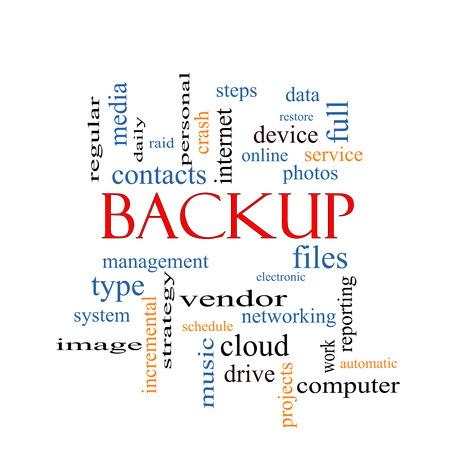 backups: Backup Word Cloud Concept with great terms such as files, cloud, data and more. Stock Photo