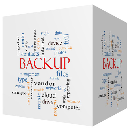 incremental: Backup 3D cube Word Cloud Concept with great terms such as files, cloud, data and more.